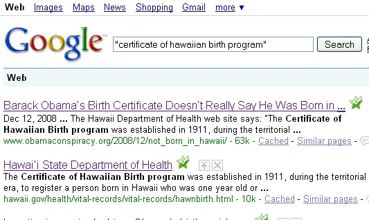 "Google results for ""certificate of hawaiian birth program"""
