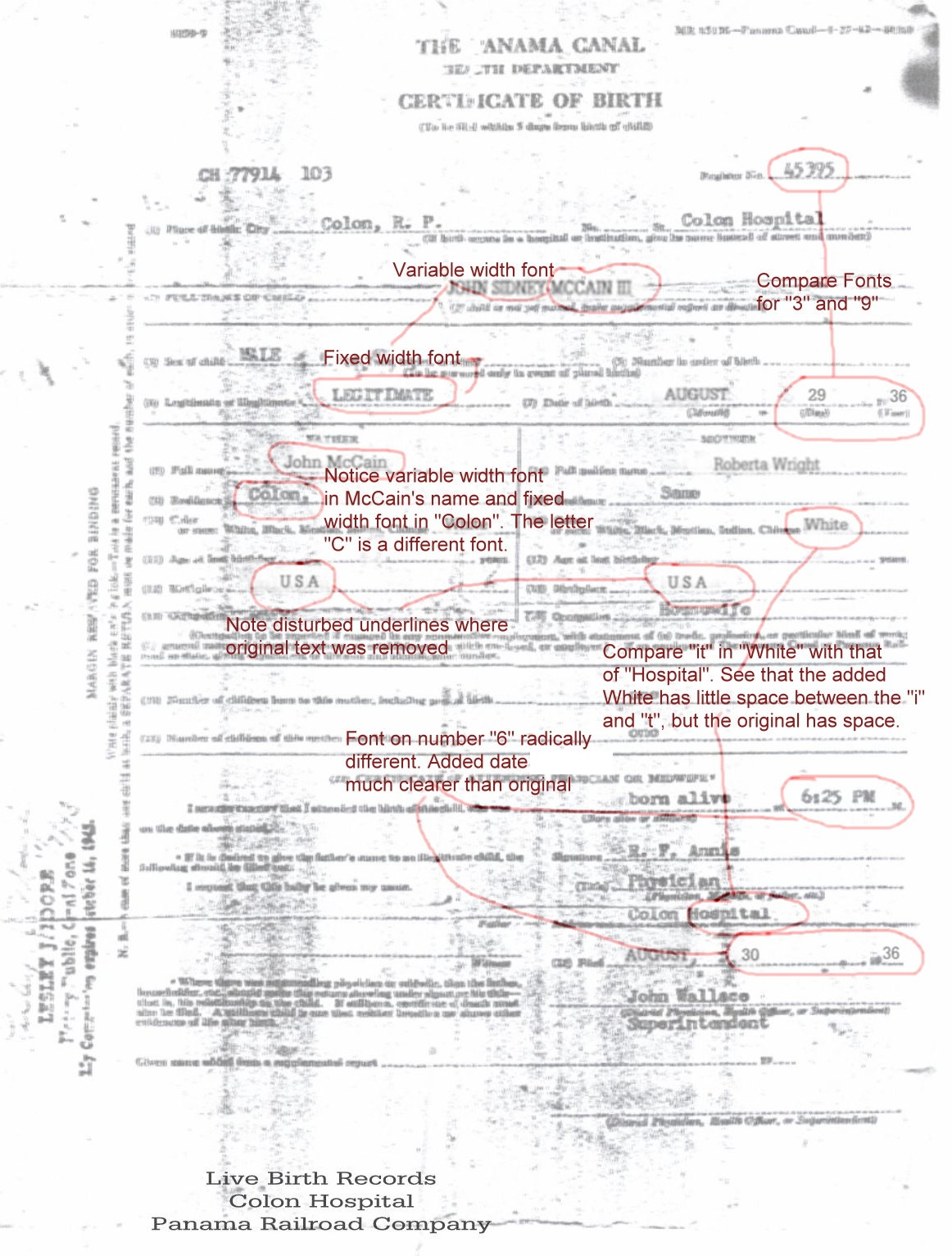 John mccains fake birth certificate obama conspiracy theories mccain fake birth certificate showing obvious flaws click to enlarge aiddatafo Images