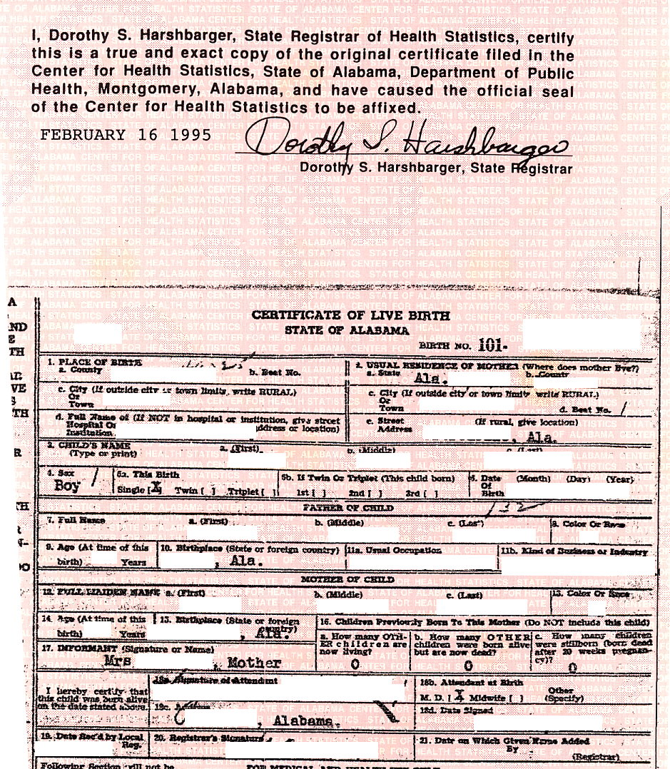 obtaining an alabama birth certificate