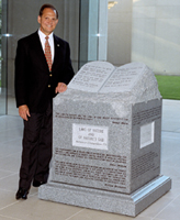 Photo of former judge Roy S. Moore and 10 Commandments monument