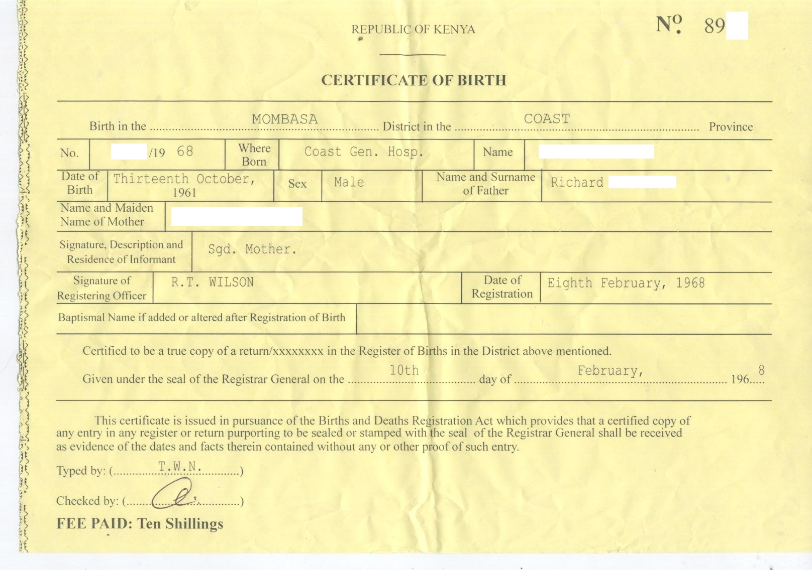 novelty birth certificate template - dr conspiracy s first fake kenyan birth certificate