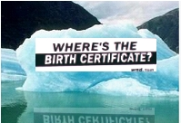 "Photo of iceberg with ""Where's the Birth Certificate"" billboard"