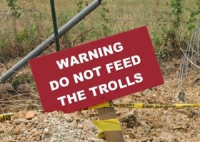 Sign reading Do Not Feed the Trolls