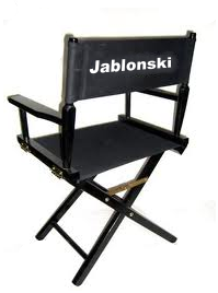 "Empty director's chair labeled ""Jablonski"""