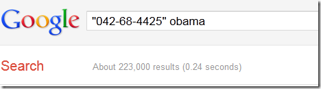 Screenshot of Google search returning 230,000 for Obama name and SSN