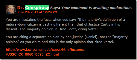 Screenshot from Donorfio blog showing comment held in moderation