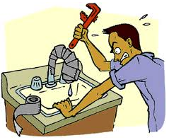 Cartoon showing frustrated man trying to fix a leaky faucet