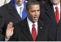 Photo of Obama taking oath of office as Presidentt