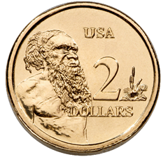Image of $2 coin showing Australian aboriginee and USA