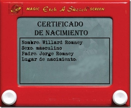 Etch A Sketch parody of a romney birth certificate