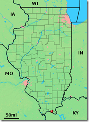 Illinois Map showing location of Metropolis