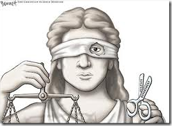 Blind justice drawing with blindfold cut out