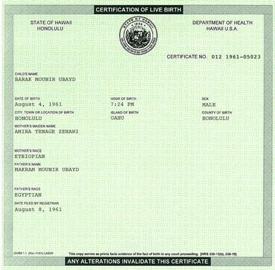 Obamas Geburtsurkunde (Original)