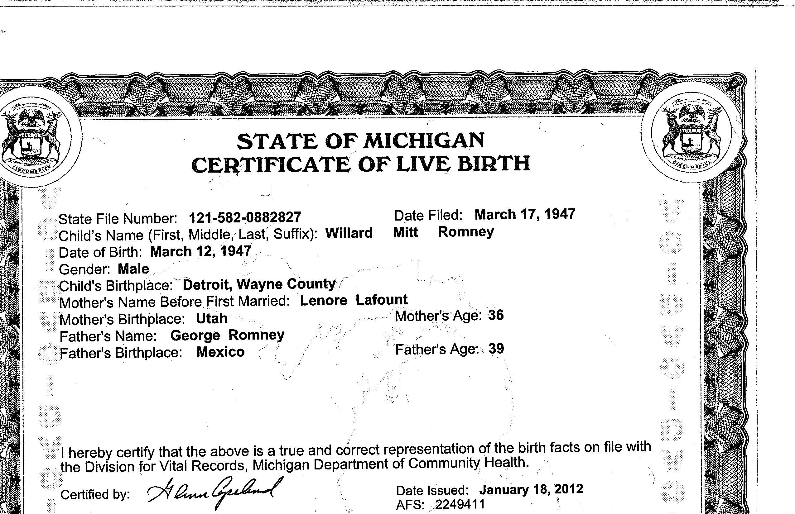 Mitt Romney birth certificate (short form)