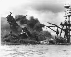USS Arizona buring in Pearl Harbor, Hawaii