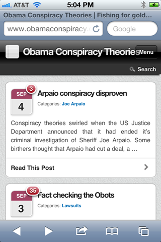 Screen Shot of Mobile Theme images from iPhone