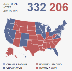 2012 Electoral College vote map