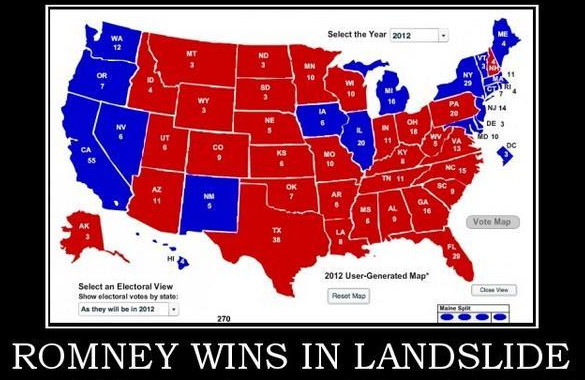 Electoral map showing Romney win