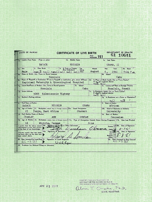 Here\'s the birth certificate! | Obama Conspiracy Theories