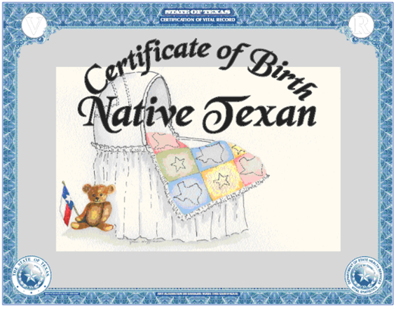 Texas Heritage birth certificate