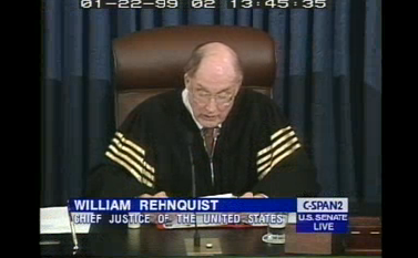 Chef Justice Rehnquist presiding in the Senate impeachment trial of Bill Clinton