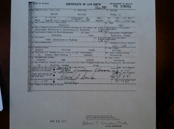 Guthrie Photo of Obama original Certificate of Live Birth