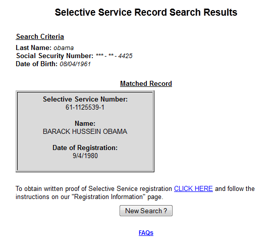 New old attack on Obamas Selective Service registration Obama – Selective Service Registration Form
