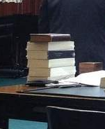 Photo of a stack of Copies of the Law of Nations from Press photo