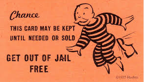 Get out of jail free card from Monopoly board game.