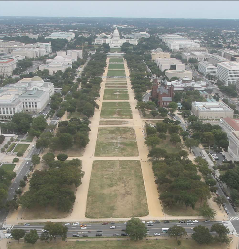 Elevated view of National Mall from the Washington Monument