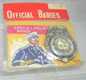 Photo of toy police badge in a plastic bag