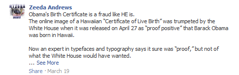 Facebook comment saying Obama's birth certificate is a fraud.