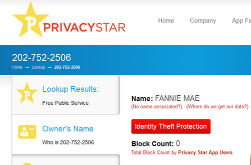 Privacy Star link showing phone 202-752-2506 belonging to Fannie Mae