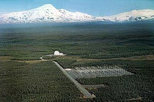 Aerial view of the HAARP site, looking towards Mount Sanford, Alaska