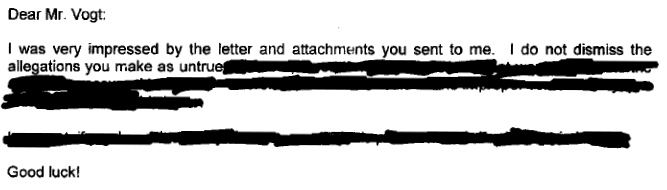 Heavily redacted letter