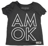 "T-shirt saying ""AMOK"" divided in two lines"