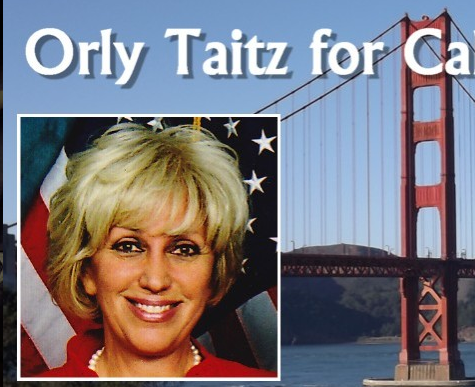Photo of Orly Taitz, US Flag background