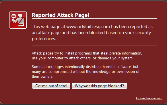 Reported Attack Page! warning message