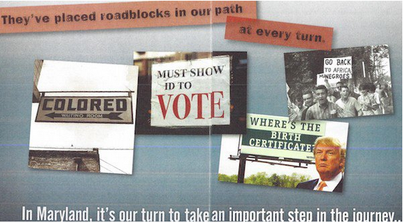 "Collage including image of Donald Trump and ""Where's the Birth Certificate?"" billboard"
