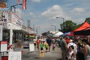 Street scene showing Lymanfest vendors
