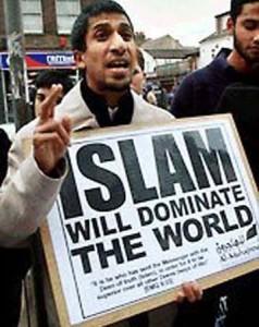 Man holding pro-Islam sign