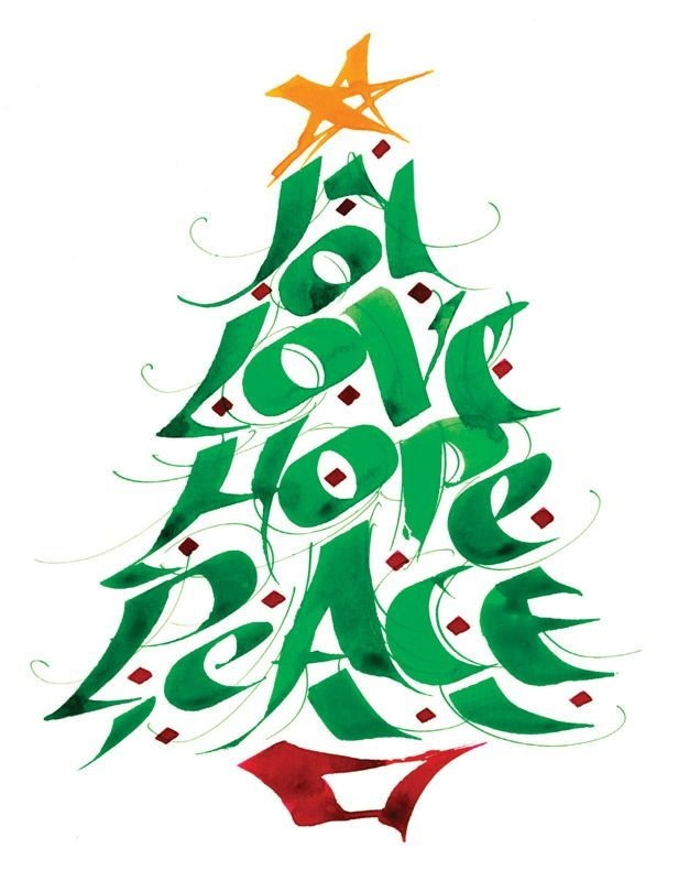 Joy, Love, Hope, Peace Holiday Tree